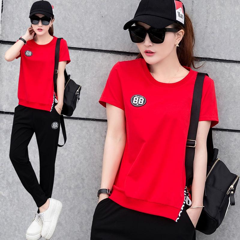 女夏韓版運動服時尚夏裝長褲休閑短袖兩件套寬松運動套裝