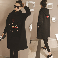 2016秋冬新款女韩版长款宽松连帽贴布高领加绒蝙蝠袖卫衣潮