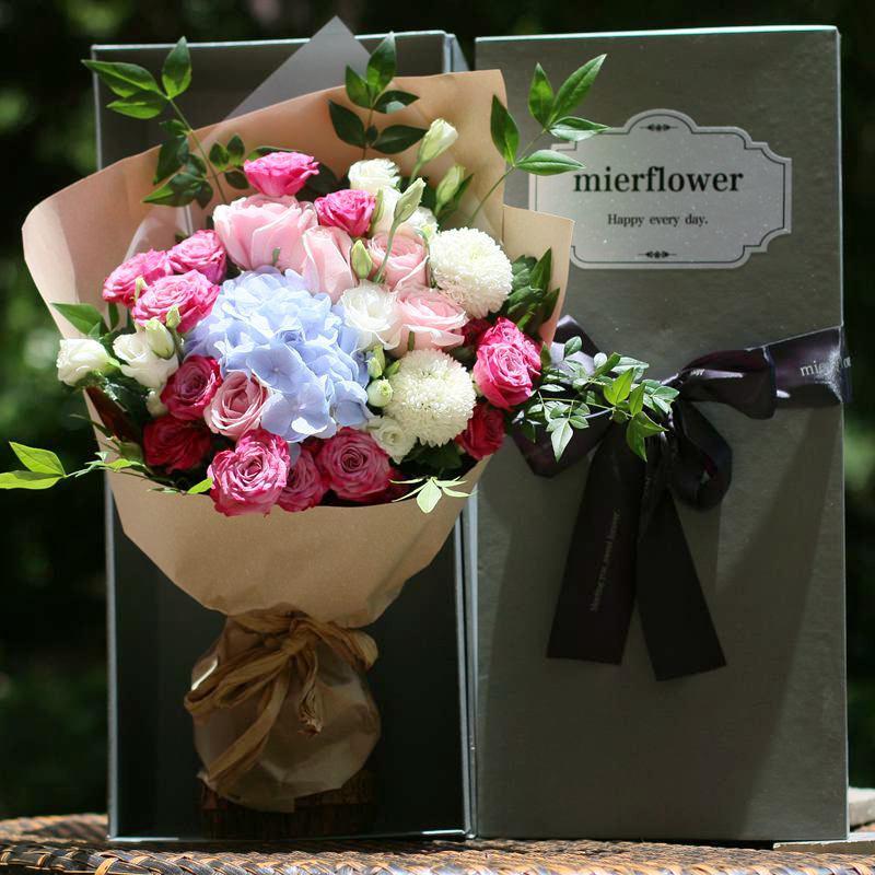 郁金香鲜花礼盒玫瑰花盒北京鲜花同城速递上海深圳花