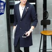 男士春季外套风衣男中长款韩版修身青年帅气西服学生潮流披风男装