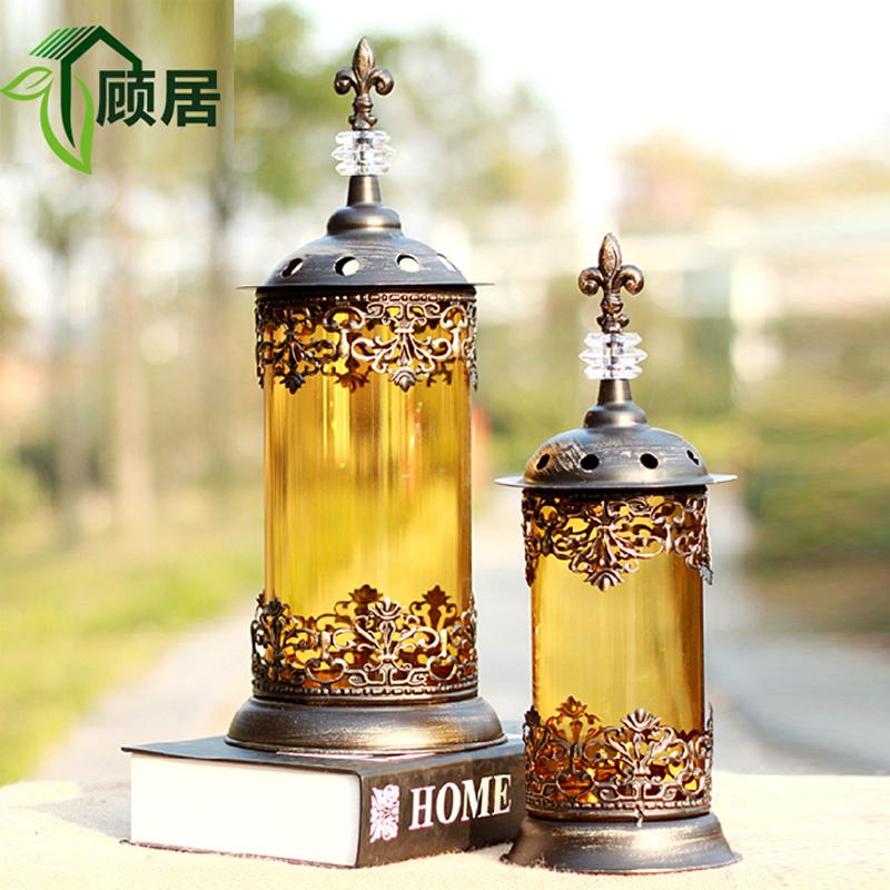 摩洛哥欧式烛台浪漫经典婚庆餐桌摆件复古铁艺玻璃风