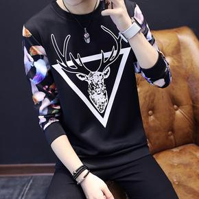 秋季长袖T恤男装青少年学生韩版修身印花圆领体恤潮流上衣服长袖
