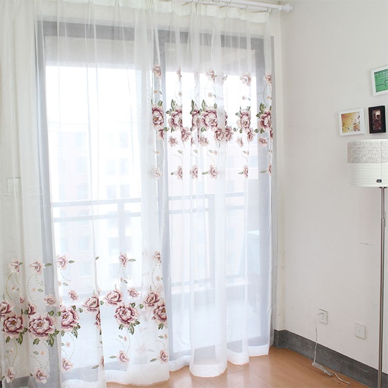 【迷失萝莉】家纺绣花纱窗纱白色绣花窗纱帘卧室客厅窗帘纱阳