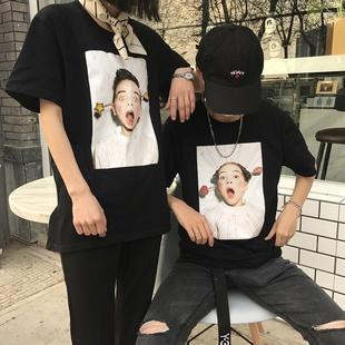 2017夏季新款原宿BF风短袖情侣装印花T恤男女学生上衣打底衫半袖