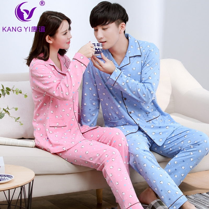 香港康谊纯棉情侣睡衣长袖春秋男女士全棉卡通休闲冬季家居服套装