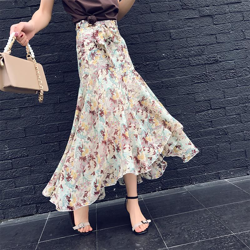 印花碎花女中不規則半身沙灘夏季綁帶下擺高腰長款長裙