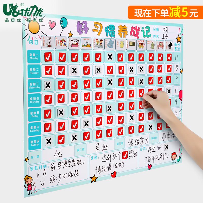 儿童奖励积分记录表学习计划表墙贴成长自律表幼儿习惯时间管理表