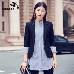 哥弟女装秋季新品职业OL修身长袖纯色单扣小西装外套女490012