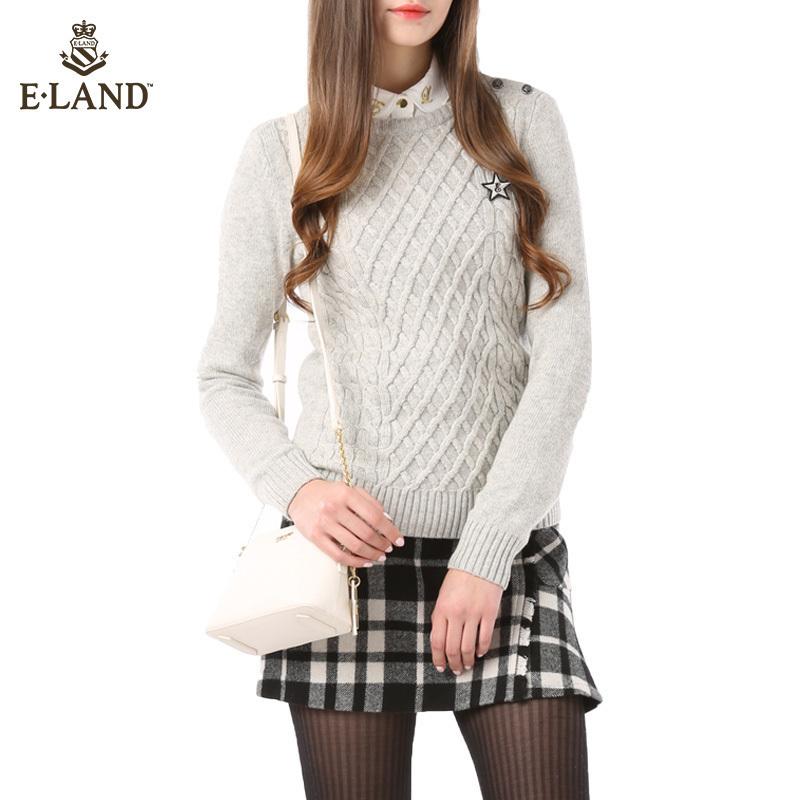 ELAND衣恋秋冬新品纯色套头圆领毛衣EEKW54V01A专柜正品
