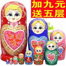 俄罗斯套娃10层进口正品益智玩具椴木风干手绘手工品礼物包邮5412