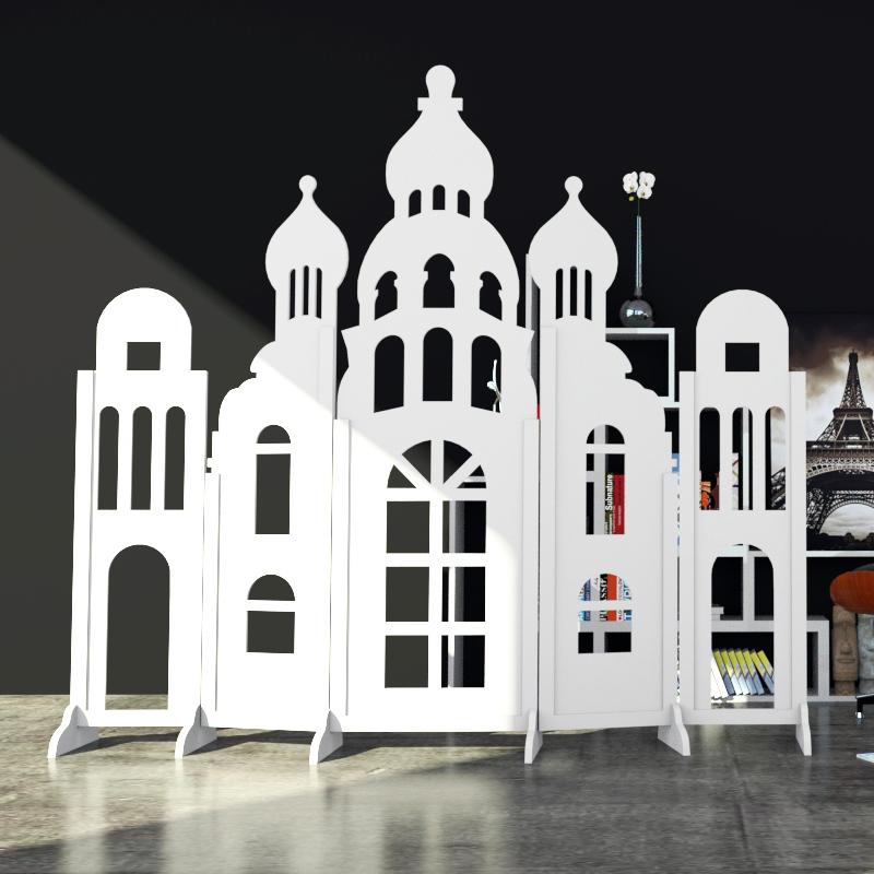 屏风欧式城堡白色时尚隔断玄关幼儿园店铺橱窗背景可