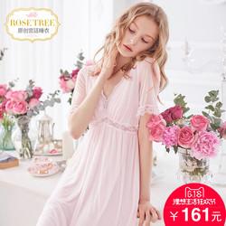 RoseTree宫廷睡裙夏季女士新款性感冰丝短袖V领蕾丝公主睡衣裙子