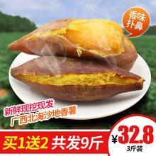 买1送2共发9斤 广西北海海边沙地新鲜现挖香薯3斤香甜营养装