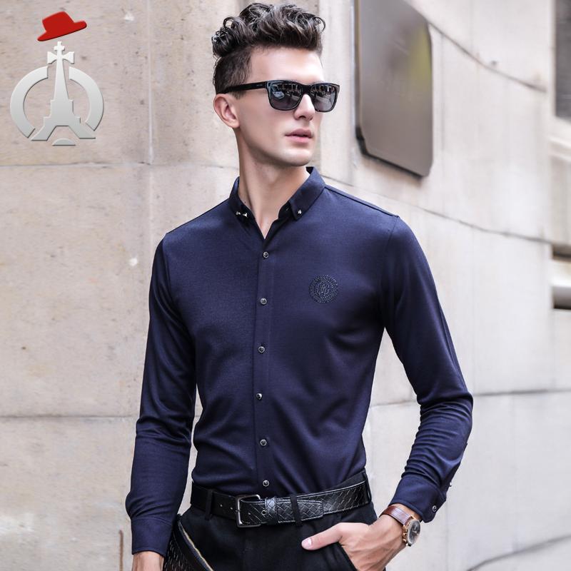 长人2016长袖衬衣修身男士日常欧美简约男装几何图案绣花衬衫