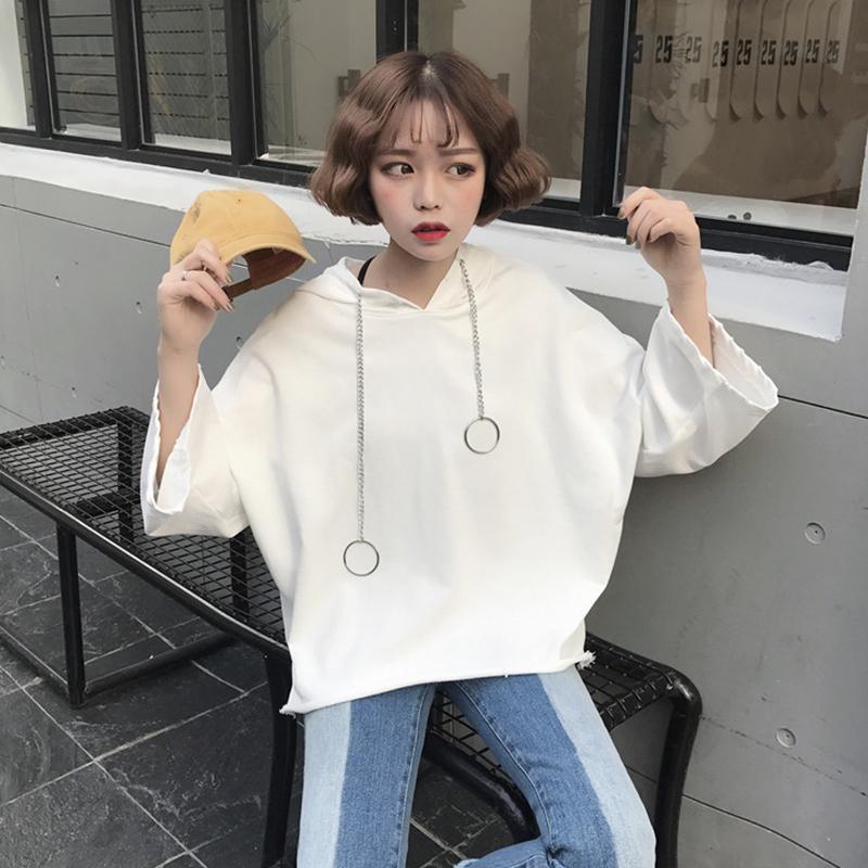 外套春夏韩版女学生学院套头宽松连帽卫衣潮纯色长袖