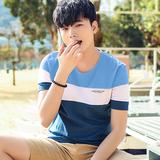 【2件】春夏季男士短袖T恤男圆领韩版修身条纹学生潮流上衣服男装