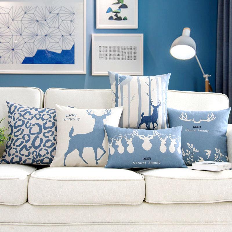 麻布办公室沙发麋鹿北欧枕套靠垫椅子靠枕蓝色客厅