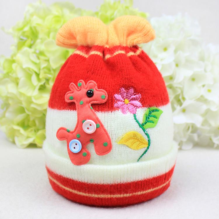 秋冬季婴儿帽子宝宝纯棉针织加厚双层保暖毛线胎帽0