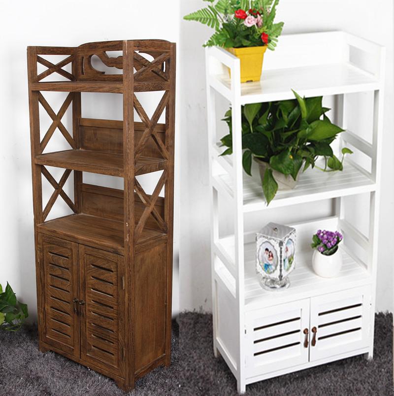 简易书架宜家书柜欧式复古做旧实木带门儿童置物花架
