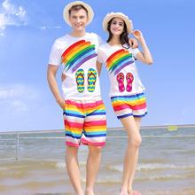 夏季品牌蜜月海边度假沙滩情侣装夏装潮男女韩国短袖t恤短裤套装