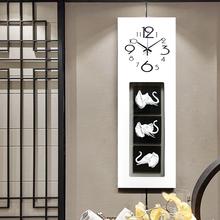 大象钟表挂钟客厅创意欧式现代简约艺术长方形时钟装饰静音壁挂表