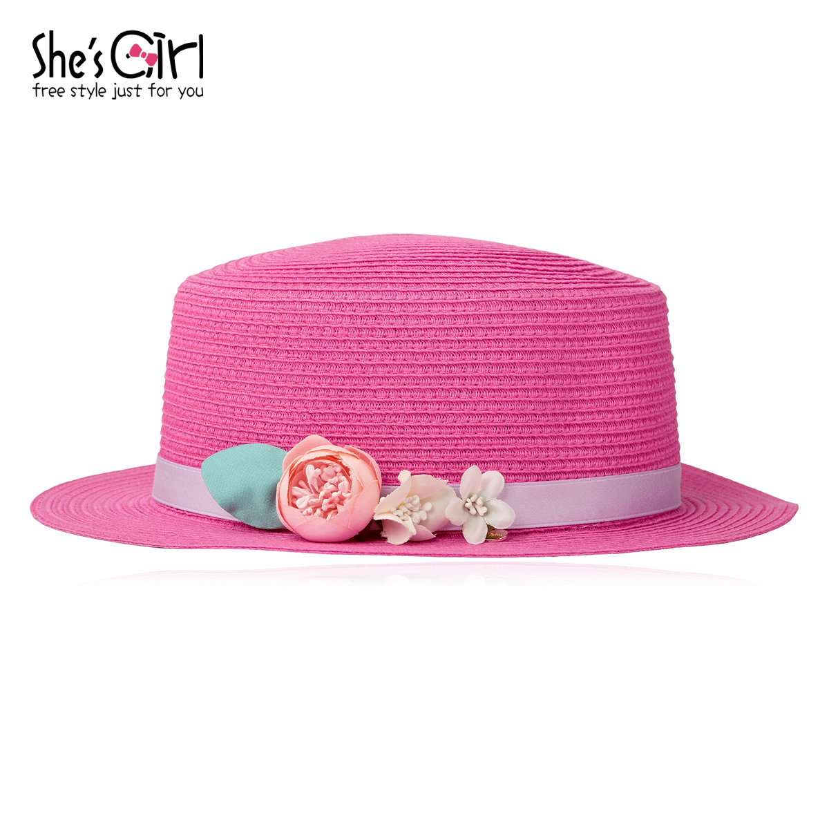 She's Girl茜子配饰 糖果色甜美花朵草编织帽子宽檐小檐遮阳帽子