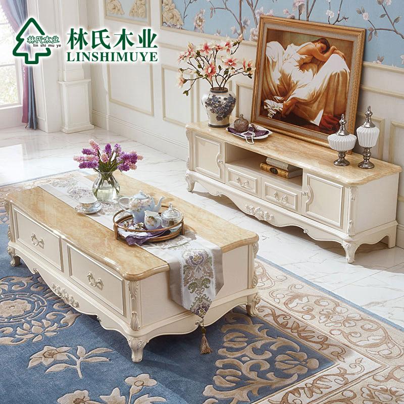 小户型客厅电视柜茶几仿大理石组合欧式成套kn620h