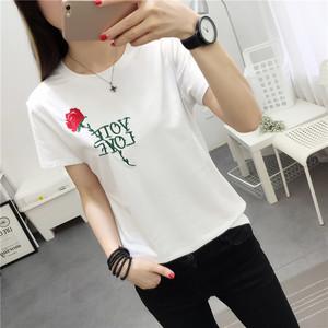 2017韩版女装夏装新款玫瑰刺绣宽松短袖T恤圆领上衣黑白两色潮