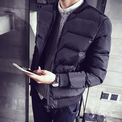冬季棉衣男短款修身外套青年韩版学生棉袄子潮流冬衣加厚黑色棉服