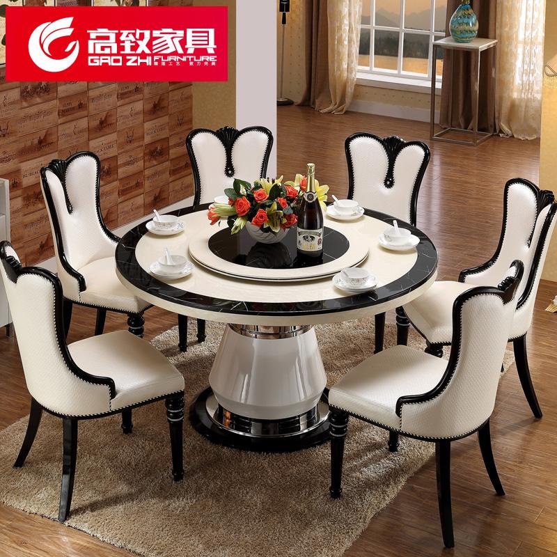 大理石餐桌圆形餐桌椅组合欧式圆桌吃饭桌子圆餐桌02