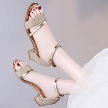 中跟凉鞋水钻2017夏季新款时尚罗马女鞋粗跟女士鞋子高跟韩版百搭