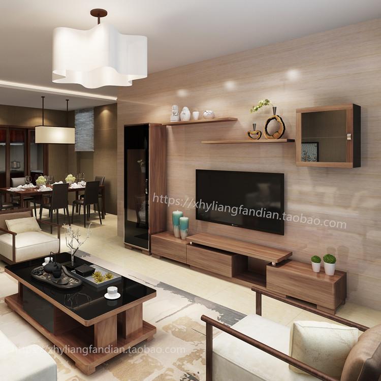 胡桃木色客厅影视柜电视柜组合茶几壁挂伸缩背景墙柜