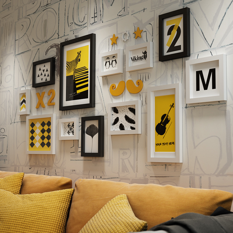 简约现代黄色实木相框组合创意照片墙客厅餐厅卧室画