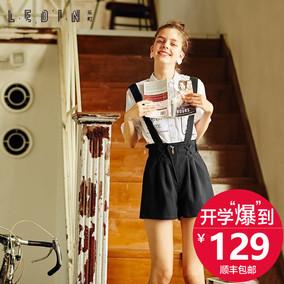 乐町2016夏装新款背带裤黑色休闲裤短裤韩版裤子女学院风百搭女裤