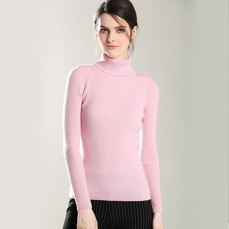 女士羊绒衫秋冬季新款女装纯山羊绒可翻高领纯色打底衫套头毛衣女