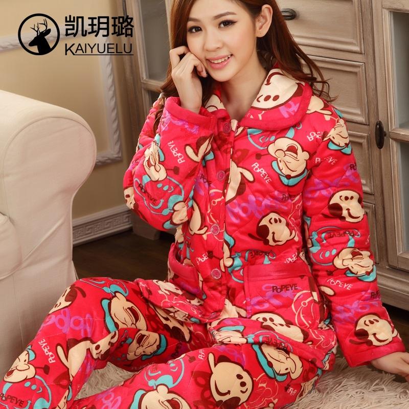 睡衣女冬季加厚三层夹棉珊瑚绒可爱冬天棉袄保暖法兰绒家居服套装