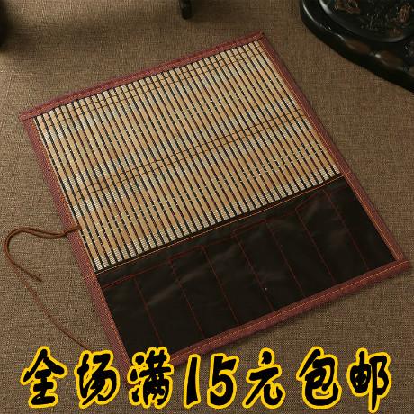 文房四宝特价毛笔卷笔袋竹笔帘带布袋36厘米毛笔保护包边书法用品