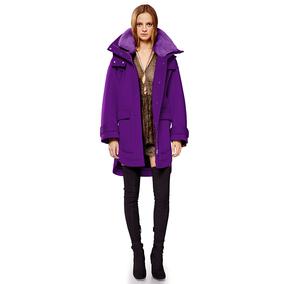 秋幻 紫色羊毛大衣 獭兔毛领 毛呢外套  女式连帽大衣