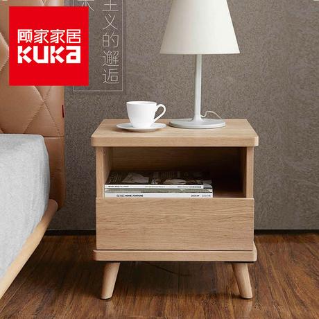 顾家家居 现代简约实木脚床头柜床边柜卧室创意家具小柜子商品大图