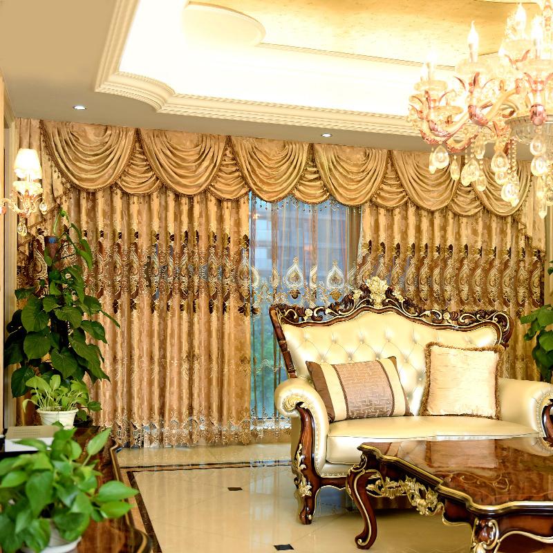 奢华定制欧式窗帘客厅卧室豪华中式飘窗窗帘成品高档