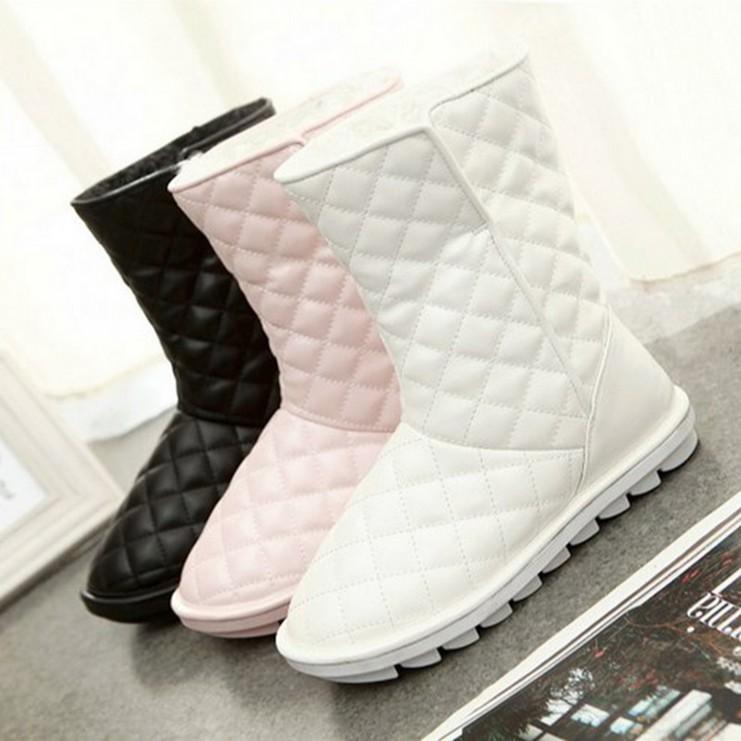 冬季新款韩版雪地靴白色皮面中筒靴保暖冬靴防滑平底棉靴女靴子