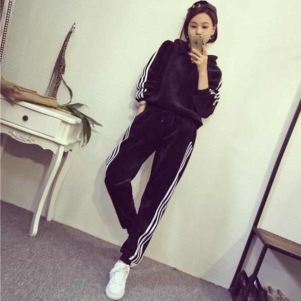 时尚保暖套装女加绒外套宽松两件套秋冬季新款韩版长裤运动服潮