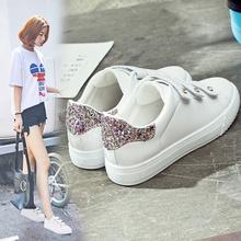 街拍小白鞋女夏季松糕厚底魔术贴透气休闲运动鞋百搭韩版学生板鞋