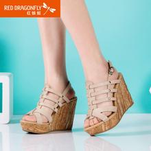 【断码清仓】红蜻蜓凉鞋女夏季休闲舒适女鞋真皮防水台坡跟凉鞋子图片