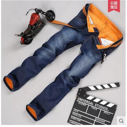 冬季保暖新款男装牛仔裤 男士韩版直筒修身休闲加绒加厚长裤子潮