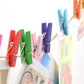 包邮彩色小木夹子原木夹子麻绳照片墙便签便条夹拍立得相片夹子