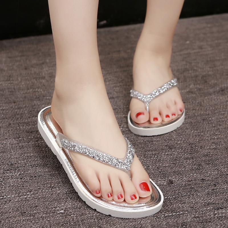 夏季人字拖女士时尚拖鞋女韩版平底鞋外穿凉拖夹脚拖鞋厚底沙滩鞋