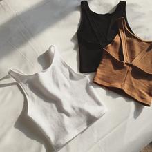 春夏新品欧美时尚露脐打底衫修身显瘦短款小背心吊带裹胸上衣女装
