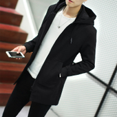 秋冬男士风衣韩版修身连帽中长款外衣帅气衣服外套男加绒加厚大码