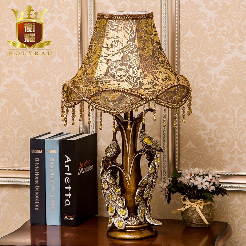 卧室床头台灯 欧式孔雀复古典创意奢华美式装饰书房